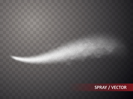 Spray effect isolated on transparent background. Fog or smoke with many small particles. Vector illustration