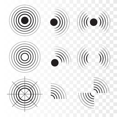 Satz Radarsymbole. Sonar-Schallwellen. Vektor-Illustration Vektorgrafik