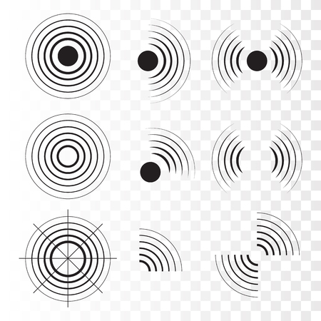 Set di icone radar. Onde sonore sonar. Illustrazione vettoriale Vettoriali