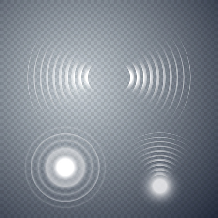 Satz glühender Sonarwellen lokalisiert auf transparentem Hintergrund. Vektor-Illustration Vektorgrafik