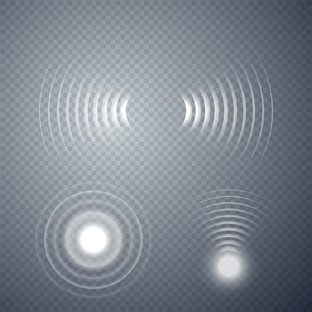 Set di onde sonar incandescente isolate su sfondo trasparente. Illustrazione vettoriale Vettoriali