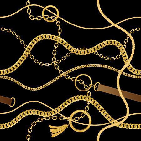 Motif vintage sans couture avec chaînes, cordes et ceintures. Fond de vecteur