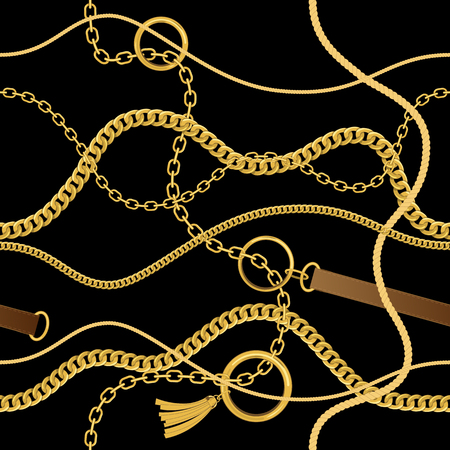 Seamless vintage pattern with chains, ropes and belts. Vector background
