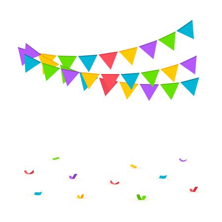 Fond de confettis. Concept d'anniversaire avec des confettis, des drapeaux et des banderoles. Illustration vectorielle Vecteurs