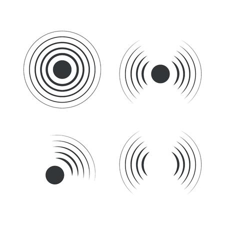 Icone radar. Onde sonore sonar. Illustrazione vettoriale