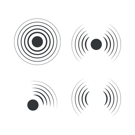 Radar icons. Sonar sound waves. Vector illustration