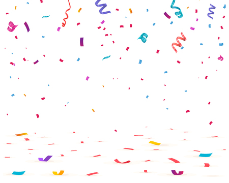 Confeti aislado sobre fondo blanco. Confeti cayendo, Ilustración de vector de cumpleaños