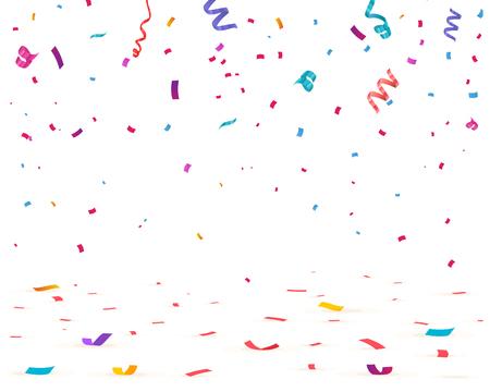Confettis isolés sur fond blanc. Chute de confettis, illustration vectorielle anniversaire