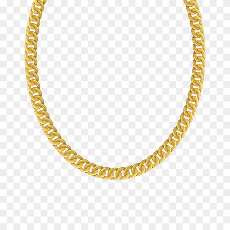 Gouden ketting geïsoleerd. Vectorillustratie van ketting Vector Illustratie