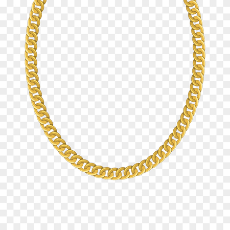 Gold chain isolated. Vector illustration of necklace