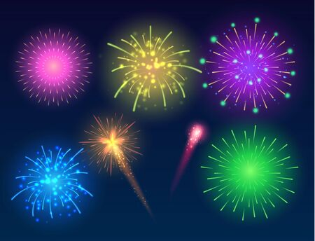 Set of glowing fireworks. Ilustracja