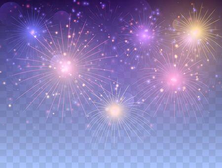 Set of glowing fireworks. Illustration