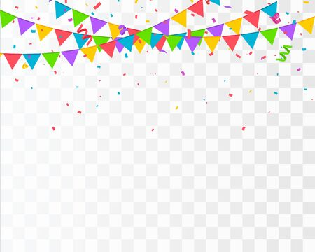 Confetti isolated. Falling confetti with flag garlands, birthday vector background