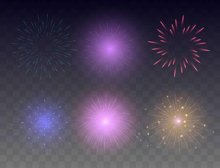 Conjunto de fuegos artificiales brillantes. Colección de vectores de fuegos artificiales brillantes multicolores.