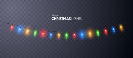 Christmas Lights glowing garland isolated. Vector illustration