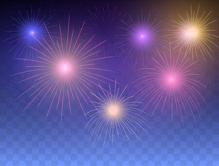 Fondo de fuegos artificiales. Fuegos artificiales festivos. Ilustración de vector.