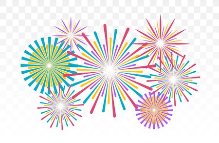 Fireworks banner isolated. Vector illustration. Festive background. Ilustracja
