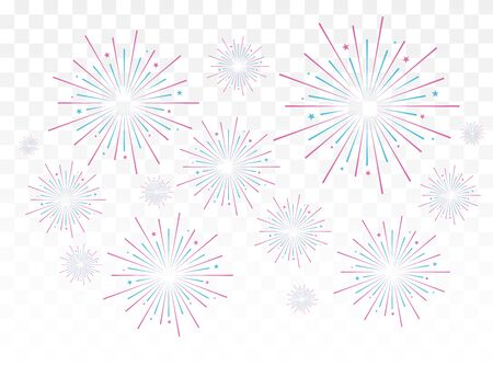 Fireworks vector illustration. Festive background.