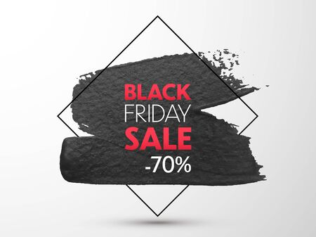 Black Friday Sale banner. Vector promo banner with gold brush stroke effect. Special offer background