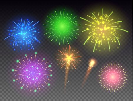 Set of glowing fireworks. Multicolored bright fireworks vector collection.