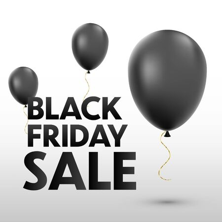 Black friday sale banner with air ballons. Vector background Ilustracja