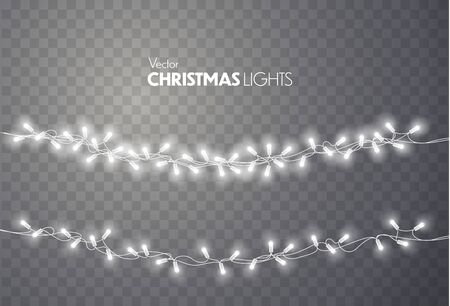 Christmas lights isolated on transparent background. Colorful bright Xmas garland. Vector red, yellow, blue and green glow light bulbs on wire strings. Vector template Vectores