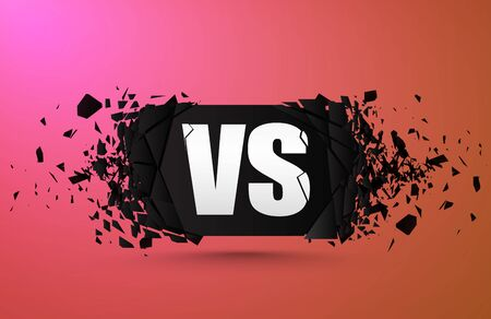 Versus sign banner with explosive effect. Vector vs sign.