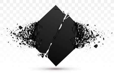 Square Black Stone With Explosive Effect. Vector Banner Ilustracja
