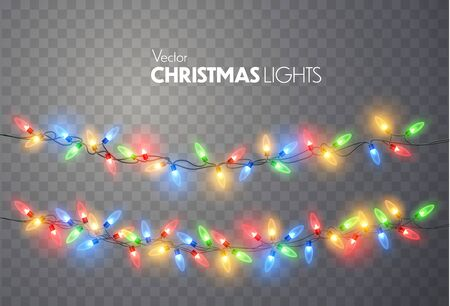 Christmas lights set. Vector New Year decorate garland with glowing light bulbs. Ilustracja