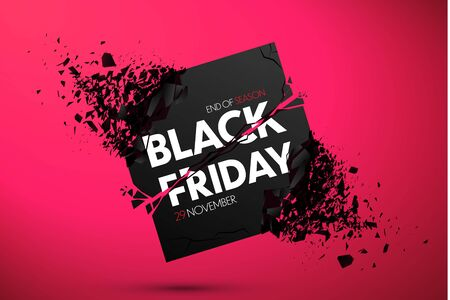 Black Friday Sale Banner With Explosive Effect. Vector Background Ilustracja