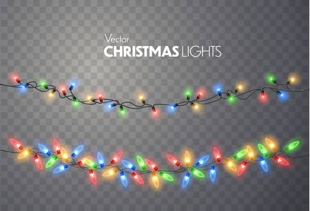 Christmas lights isolated on transparent background. Colorful bright Xmas garland. Vector red, yellow, blue and green glow light bulbs on wire strings. Vector template Ilustracja