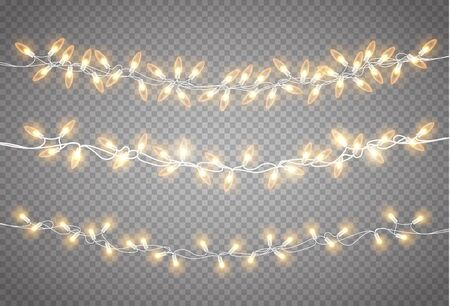 Christmas lights set. Vector New Year decorate garland with glowing light bulbs. Vectores
