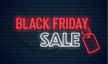 Black Friday Sale Neon Banner. Vector Background