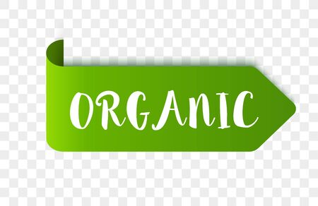 Eco organic product label or tag. Vector Vegan green sticker or badge. Vegan food sign. Ilustracja