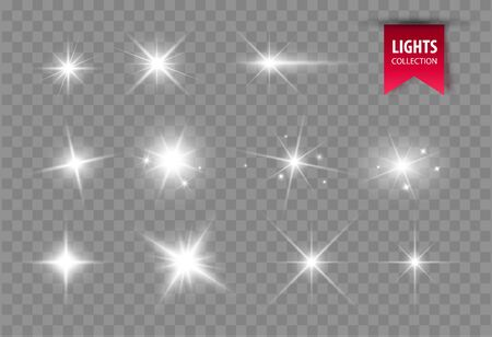 Shine glowing stars isolated. Vector light effect. Sparkles and flares. Ilustracja