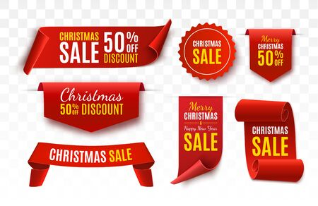 Christmas Sale Tags collection. Red scrolls and banners isolated. Merry Christmas and Happy New Year labels. Vector Price Tags illustration