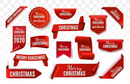 Christmas Tag isolated. Red vector banner. Merry Christmas and Happy New Year Label. Vector illustration