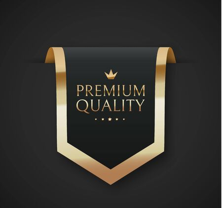 Premium quality vector badges. Luxury black labels. Vector illustration Illustration