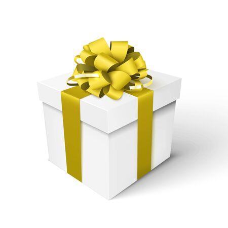 Coffret cadeau avec ruban doré et noeud. Illustration 3d vectorielle