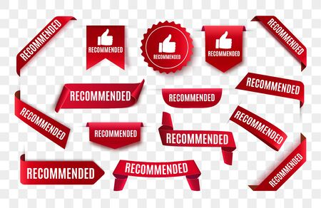 Recommended tag isolated. Vector red label or sticker. Recommendation sign banner