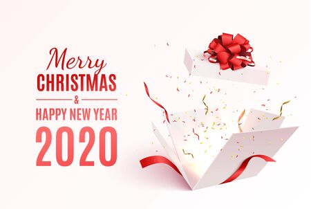 Gift box with red ribbon and bow. Merry Christmas and Happy New Year 2020 banner. Vector 3d illustration. Christmas decoration