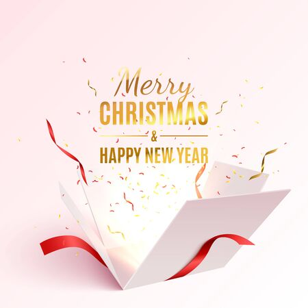 Gift box with red ribbon and bow. Merry Christmas and Happy New Year banner. Vector 3d illustration. Christmas decoration