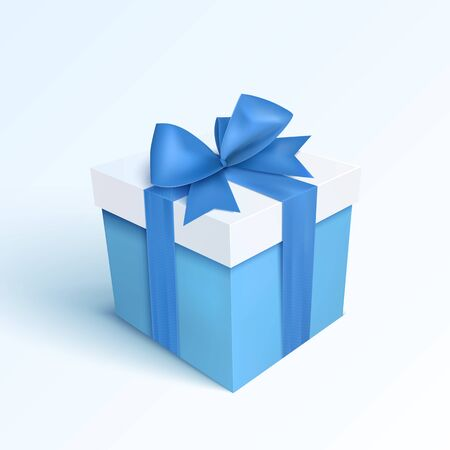 Gift box with blue ribbon and bow. Vector 3d illustration. Christmas decoration Vector Illustration
