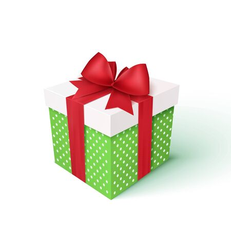 Gift box with red ribbon and bow. Vector 3d illustration. Christmas decoration
