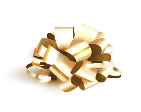 Gold bow isolated on white background, Christmas decoration for gift boxes. Vector illustration