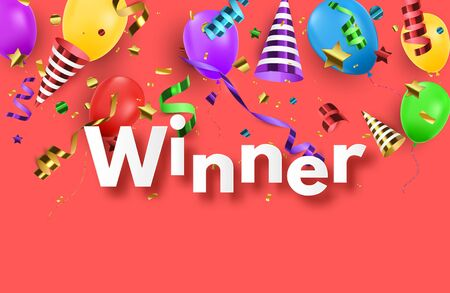 Winner background with confetti and colorful balloons. Vector win banner