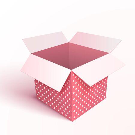 Open gift box isolated. 3d vector illustration. Illustration
