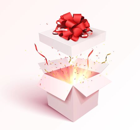 Open gift box with confetti burst explosion isolated. 3d vector background. Illustration