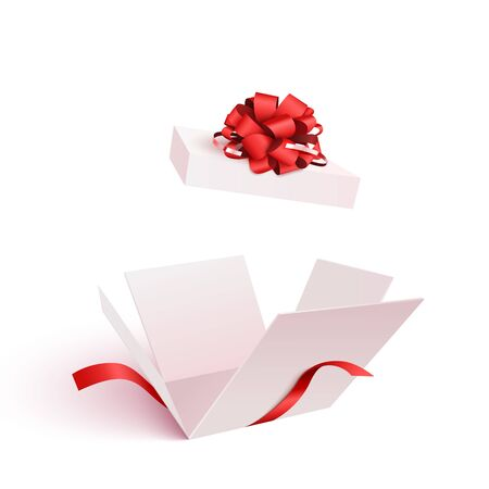 Open gift box with bow isolated