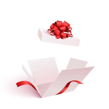 Scatola regalo aperta con fiocco isolato
